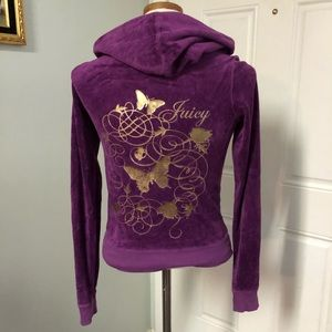 Purple gold Juicy Couture velour jacket